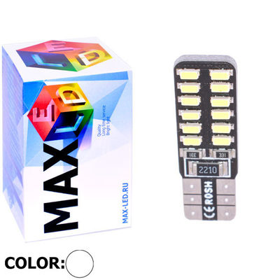 Светодиодная авто лампа W5W T10 – Max-Lendigo 24Led 2Вт Белая
