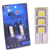 Светодиодная авто лампа W5W T10 – 3 SMD5050 Односторонняя 0.72Вт Белая