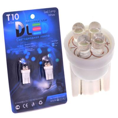 Светодиодная авто лампа W5W T10 – 4 Dip Led 0.2Вт Белая