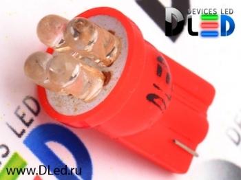 Светодиодная авто лампа W5W T10 – 4 Dip Led 0.2Вт Красная