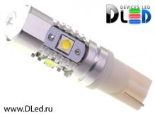 Светодиодная авто лампа W5W T10 – 4 Epistar 2 Cree 30Вт Белая