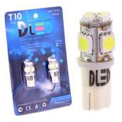 Светодиодная авто лампа W5W T10 – 4 SMD3528 4 SMD5050 1.28Вт Белая