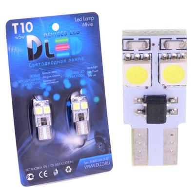 Светодиодная авто лампа W5W T10 – 4 SMD5050 Обманка 5Вт Белая