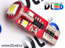 Светодиодная авто лампа W5W T10 – 4 SMD3528 1 SMD5050 Обманка Стабилизатор Red 0.48Вт Белая