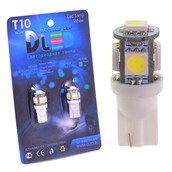 Светодиодная авто лампа W5W T10 – 5 SMD5050 1.2Вт Белая