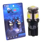 Светодиодная авто лампа W5W T10 – 5 SMD5050 Black 1.2Вт Белая