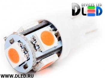 Светодиодная авто лампа W5W T10 – 5 SMD5050 1.2Вт Пурпурная