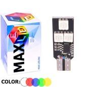 Светодиодная авто лампа W5W T10 – Max-Color 6Led 2Вт Многоцветная