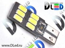Светодиодная авто лампа W5W T10 – 6 SMD5630 Односторонняя Обманка 2.4Вт Белая