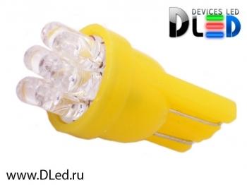 Светодиодная авто лампа W5W T10 – 7 Dip Led 0.4Вт Жёлтая