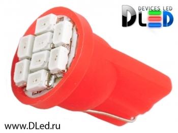 Светодиодная авто лампа W5W T10 – 8 SMD1210 0.4Вт Красная