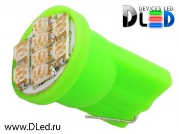 Светодиодная авто лампа W5W T10 – 8 SMD1210 0.4Вт Зелёная