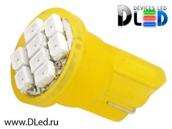 Светодиодная авто лампа W5W T10 – 8 SMD1210 0.4Вт Жёлтая