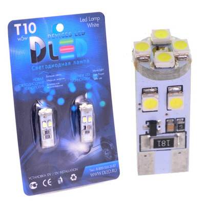 Светодиодная авто лампа W5W T10 – 8 SMD3528 Стабилизатор 0.64Вт Белая