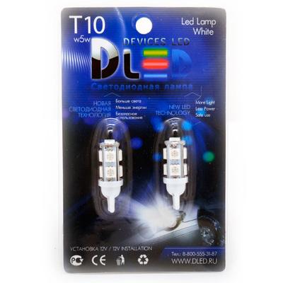 Светодиодная авто лампа W5W T10 – 9 SMD5050 2.16Вт Красная