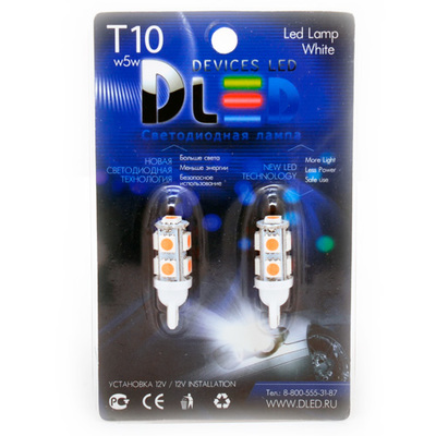 Светодиодная авто лампа W5W T10 – 9 SMD5050 2.16Вт Пурпурная