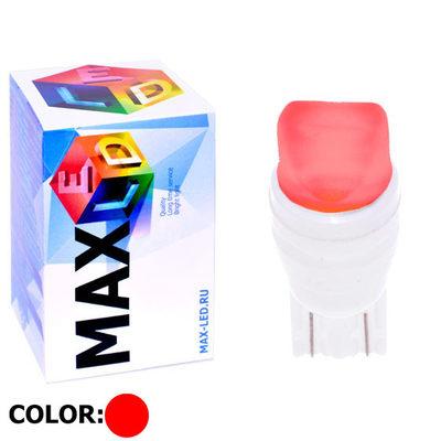 Светодиодная авто лампа W5W T10 – Max-Ceramic A 2Led 3Вт Красная