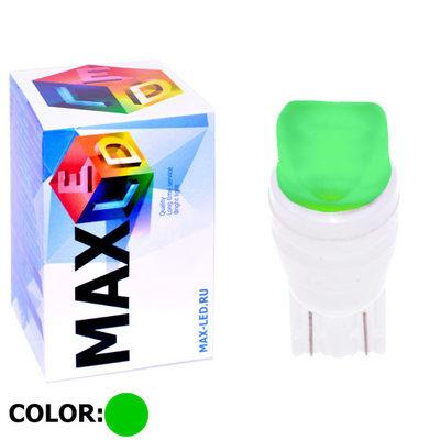 Светодиодная авто лампа W5W T10 – Max-Ceramic A 2Led 3Вт Зелёная