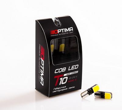 Светодиодная авто лампа W5W T10 – Optima COB CAN BUS 3W 5100K Белая